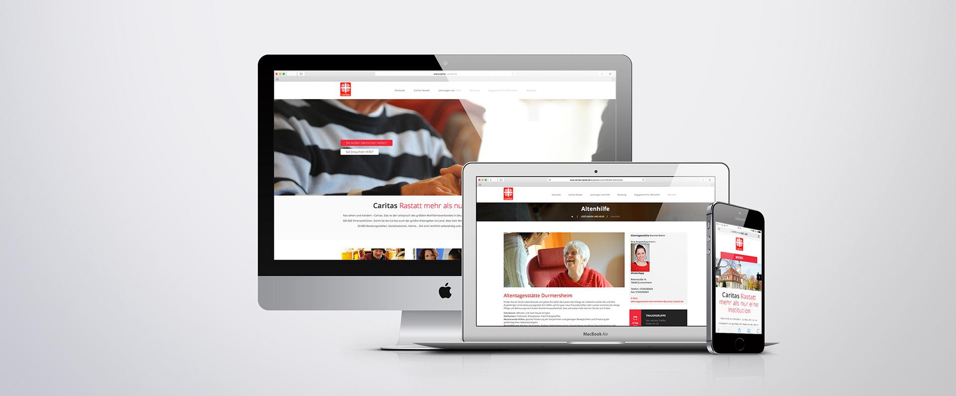 exakt erstellt: Internetseite der Caritas